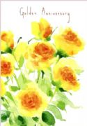 Golden Wedding Anniversary Card - Roses